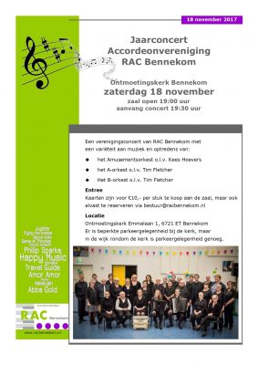 Najaarsconcert accordeonvereniging RAC Bennekom